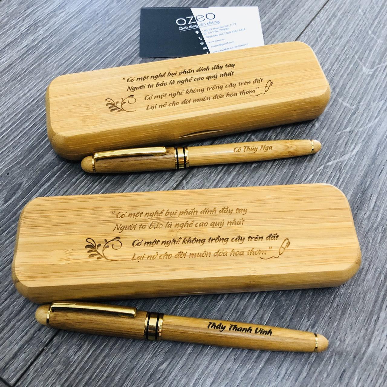 Bút gỗ tre khắc tên cá nhân hóa làm quà tặng thầy cô