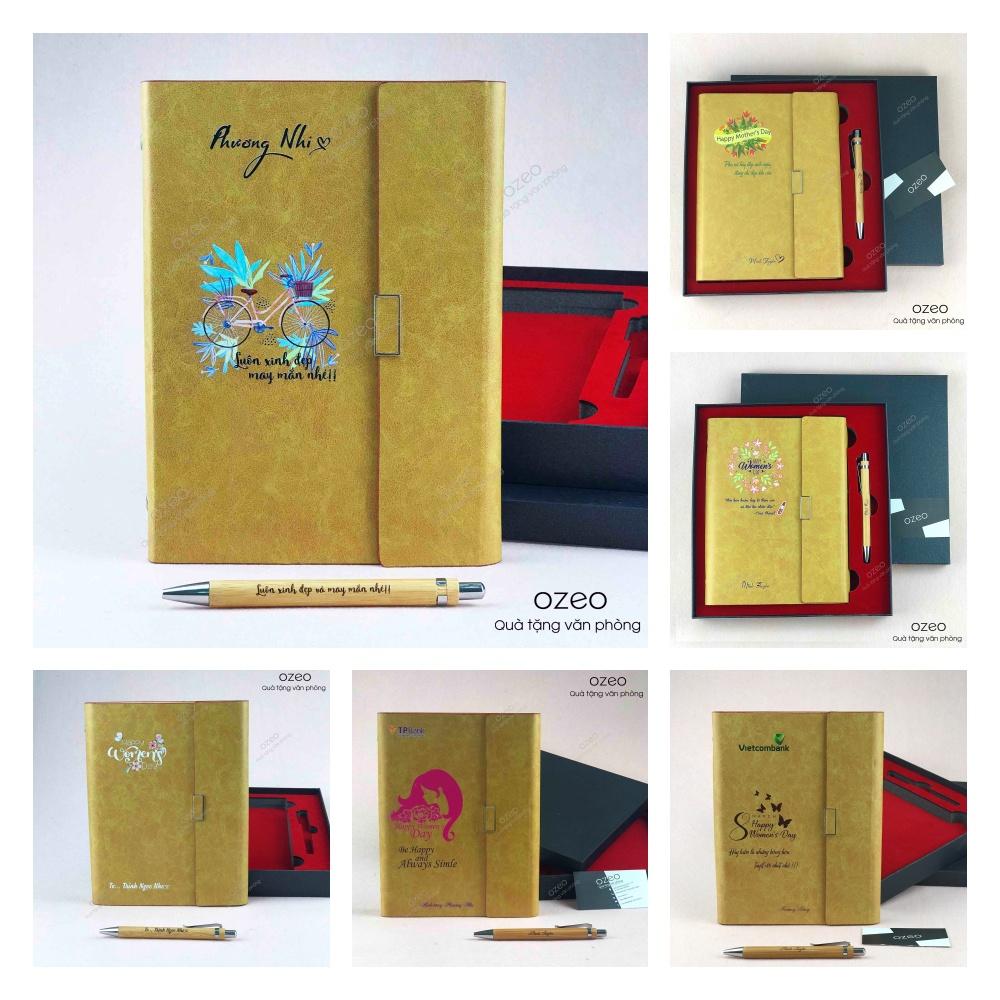 Combo quà tặng 8/3 gồm sổ tay bìa da và bút tre in tên theo yêu cầu lên thiết kế có sẵn.